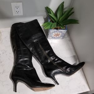 👢BLACK LEATHER KNEE HIGH BOOTS